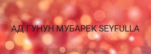 АД ГУНУН МУБАРЕК SEYFULLA