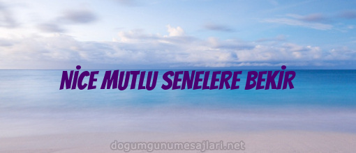 NİCE MUTLU SENELERE BEKİR