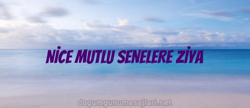 NİCE MUTLU SENELERE ZİYA